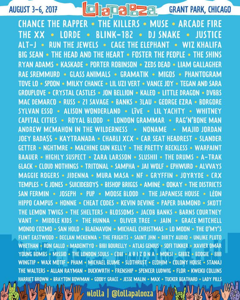 Poster con la lista de artistas de Lolapallooza 2017, Chicago