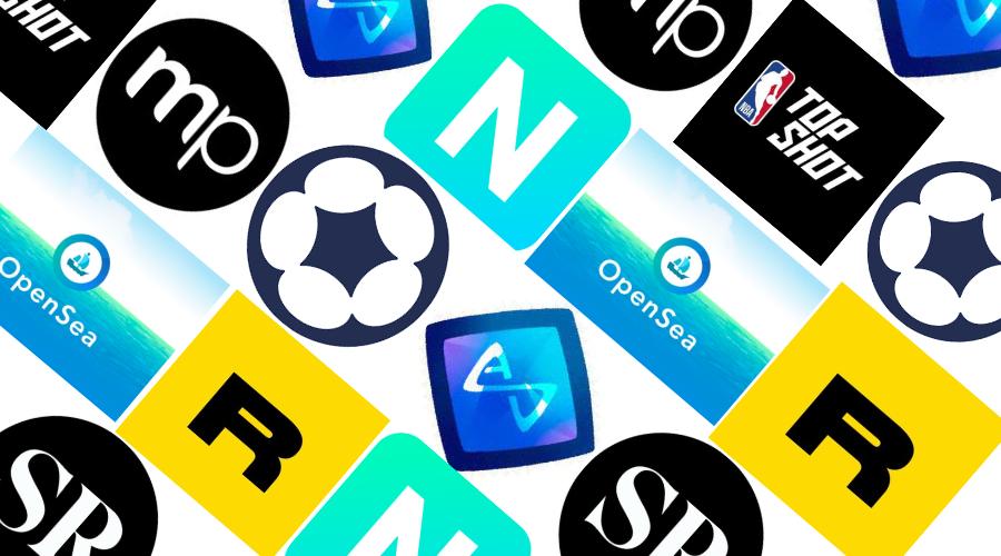 Logos de los mercados NFT más populares