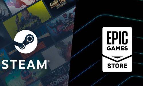 Logos de Steam y Epic Games Store
